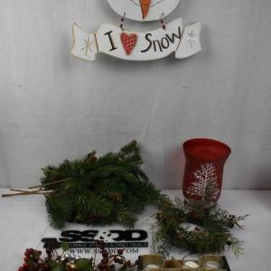 Photo of 20+ pc Holiday Decor Lot: Large Red Vase, Snowman Wall Decor, 10 votive candles