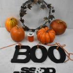 9 pc Fall/Halloween Decor: 4 pumpkins, BOO letters, ribbon, Metal Wreath