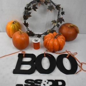 Photo of 9 pc Fall/Halloween Decor: 4 pumpkins, BOO letters, ribbon, Metal Wreath