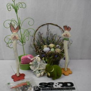 Photo of 8 pc Easter Decor: Hanging Basket, Ornament Tree, etc