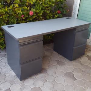 Photo of Grey Desk with Built-in File Cabinets