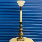 Single Brass Lamp with Milk Glass Shade