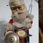 $30 VINTAGE Alps Happy Santa Claus Drummer Christmas 1950's Japan Tin Litho