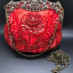 Beautiful Red Beaded Embellished Formal Evening Bag Clutch Purse