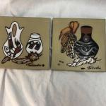 Pair of Cleo Teissedre Southwestern Tile Art Trivet YD#020-1220-00490