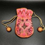 Vintage Bead Embellished Drawstring Trinket Bag Coin Purse