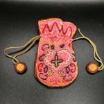 Vintage Bead Embellished Drawstring Trinket Bag Coin Purse