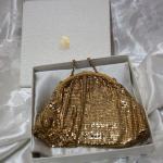 Whiting & Davis gold mesh evening bag, original box