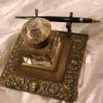 Vintage Brass crystal inkwell Faun Sheaffer 14k nib
