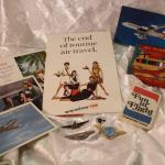 Vintage Airline memorabilia - pins, postcards, paperdolls