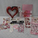 Valentine Theme Lot: Paper, Sequin Decor, Tulle, & STICKERS