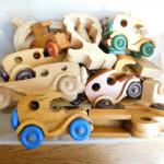 Terrific Large Collection of Wood Toy Cars and Trucks