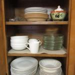 Cabinet Full of Dishes (White Set is Gordon Ramsay Inspired Pattern for Royal Do