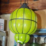 Lot 71  Huge hanging Italian green glass Hall Swag light Mid Century Vintage