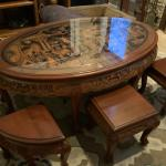 Antique carved mahogany tea table  with 6 nesting stools