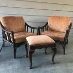 Stunning McGuire Dark Rattan Bamboo Motif Chairs and Footrest - SKU B47
