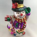 "Christmas Ornament Glass Snowman 9"" - 1998"
