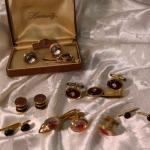 Vintage men's accessories tie tacks cufflinks Horse Head, Fish Flies