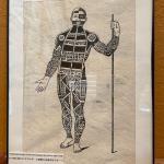 LOT 128  FRAMED ARTWORK FULL BODY TATTOO MAN TAHITI TAPA CLOTH