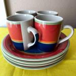 LOT 114  COLOR BLOCK SERVICE FOR 4 PLATES & MUGS ROYAL NORFOLK
