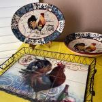 LOT 115  FRENCH PROVENCAL ROOSTER THEME DECORATIVE CERAMIC SERVE WARE