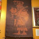 LOT 127  VINTAGE AZTEC/MAYAN/INCA GOD WEAVING WALL HANGING METAL RODS