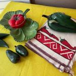 LOT 118  VINTAGE MEXICANA SERVE WARE WITH JALAPENO PEPPER THEME & PLACEMATS