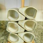 Nice Set of Heavy Pottery Drinking Mugs with Wood Holder