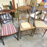 Set of Three Vintage Wood Framed Chairs Various Styles