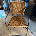 3 RATTAN AND IRON BAR HEIGHT CHAIRS-VINTAGE