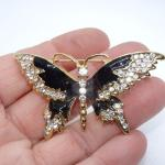 Black & Gold Rhinestone Butterfly Pin