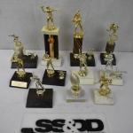 11 Sports Trophies: 5 Football 6 Baseball