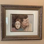 LOT 177  FRAMED ART PRINT JOHN LENNON & JOHN KENNEDY