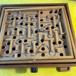 LOT 173  VINTAGE WOOD MARBLE MAZE GAME TILT TOP