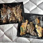 LOT 188  PAIR OF PAINTED TEXTILES THAILAND ELEPHANTS