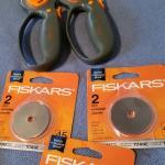 2 Fiskar cutters and 3 refill blade pkgs