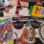 Assort word search and adult coloring books