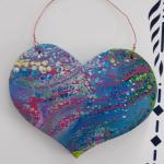 $5 Bright Multicolor Wooden Hanging Heart 5 in x 6 in.