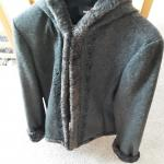 Ladies Wool Coat Hooded Size Small Gray