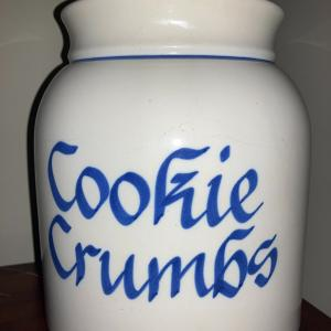 "Photo of Crock cookie jar ""Cookie Crumbs"" cork top"