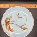 Set of three (3) PLATES - HAVILAND LIMOGES H & C / L pale blue with floral desig