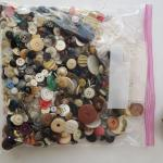Gallon-sized bag of old vintage buttons
