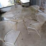 """Wrought Iron Table and Chairs Set (Table is 42"""" in Diameter)"""