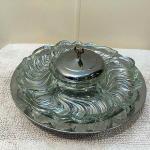Rare Kromex Vintage Lazy Susan Party Platter Glass Dish Set Elegant Serve Tray
