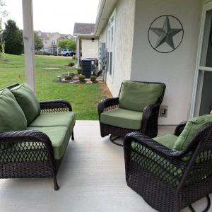 Photo of Patio set 2-Rocker glider chairs N one loveseat all w/Cushions