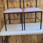 Pair of FurnitureLab Metal chairs with coffee cup motif