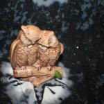 2 Owls on Log Figurine