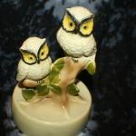 2 Owls Figurine on Round Base