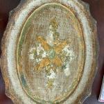 Small Wood Florentine Tray, Marked ARAM