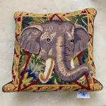 TABLEAU Needlepoint Elephant Face Pillow